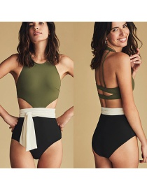 Fashion Powder Solid Color Stitching Open Back One-piece Swimsuit