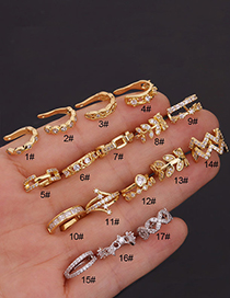 Fashion 1#gold Color Stainless Steel Inlaid Zircon Geometric Earrings Without Pierced Ears