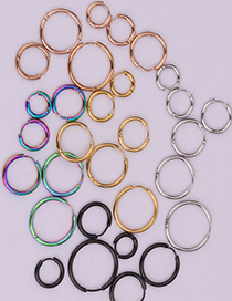 Fashion Steel Color 10mm Round Stainless Steel Smooth Earrings