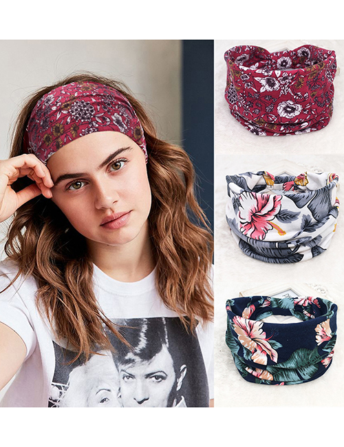 Fashion Triangle Black And White Printed Pleated Buttons Sweat-absorbent Elastic Knotted Headband