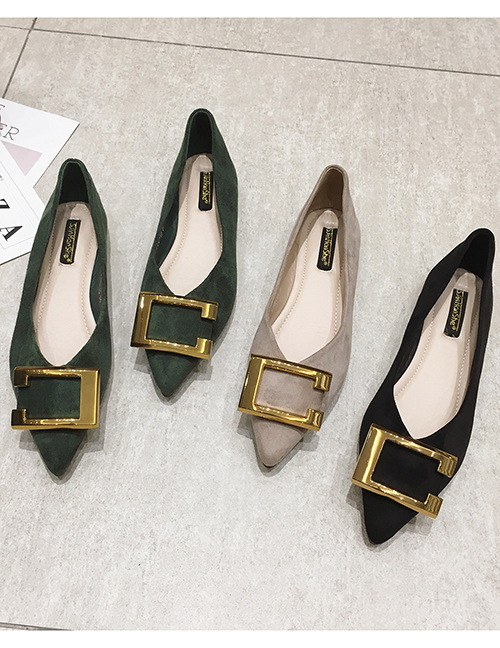 Fashion Green Flat Pointed Toe Square Metal Suede Shoes