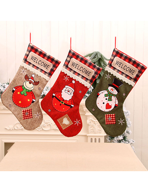 Fashion Deer Polyester Santa Print Plaid Christmas Socks