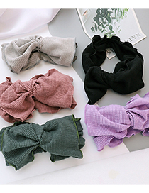 Fashion Black Strips Striped Solid Color Fabric Bow Headband