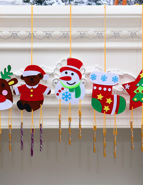 Fashion Five-star Elk Snowman Socks Hit Color Wind Chimes Pendant