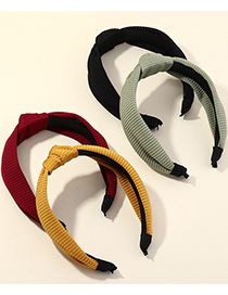 Fashion Yellow Fabric Knitted Cross Headband Pure Color Wide Side Knotted Headband