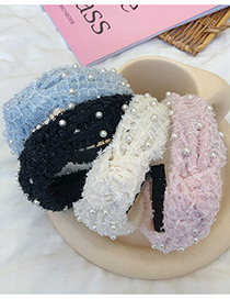 Fashion Pink Pearl Plush Mesh Beaded And Knotted Wide-brimmed Headband
