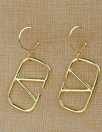 Fashion Golden Alloy Hollow Letter Earrings