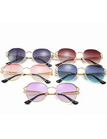Fashion Gradient Gray Round Gradient Sunglasses With Spring Temples