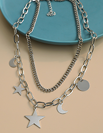 Fashion Silver Alloy Chain Moon Five-pointed Star Double Necklace