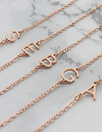 Fashion A- Rose Gold Stainless Steel Letter Hollow Necklace