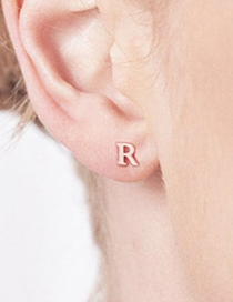 Fashion Gold Color A Stainless Steel Small Letter Hollow Earrings