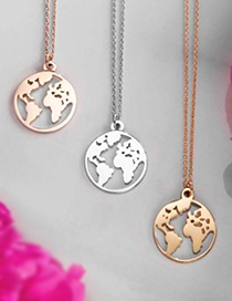 Fashion Gold Color World Map Pendant Hollow Alloy Necklace