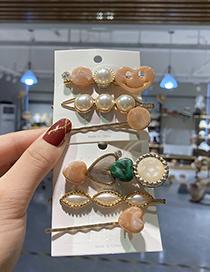 Fashion Love Three-piece Suit Pearl Love Resin Diamond Geometric Hairpin Set
