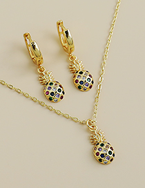 Fashion Gold Color Necklace Copper Inlaid Zircon Pineapple Necklace