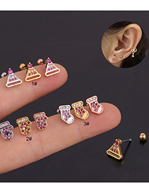 Fashion Silver Color Color1# Inlaid Zircon Hat Shape Screw Stainless Steel Geometric Stud Earrings