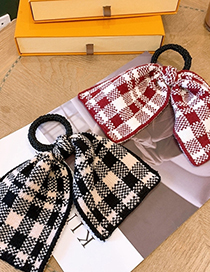 Fashion Black Houndstooth Knitted Bow Hair Rope