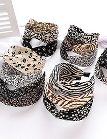 Fashion White-black Small Floral Cloth Middle Cross Headband Small Floral Printed Fabric Cross Headband In The Middle