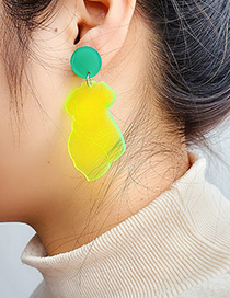Fashion Green Carved Body Acrylic Earrings