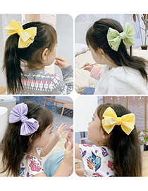 Fashion Green Bow Fabric Butterfly Combined With Gold Childrens Hairpin