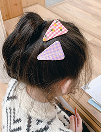 Fashion Pink Blue Grid + Black And White Grid Fabric Embroidery Lattice Geometric Children Hairpin