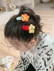 Fashion Purple Flowers + Rose Red Flowers [2 Piece Set] Wool Flower Knitted Hit Color Hairpin