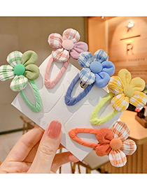 Fashion Green Flowers [1 Pair] Childrens Hairpin With Flower Plaid Fabric
