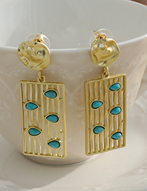 Fashion Gold Color Alloy Hollow Striped Rectangular Earrings