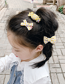 Fashion Blue Grid [3 Piece Set] Checkered Bowknot Candy Childrens Hairpin Set