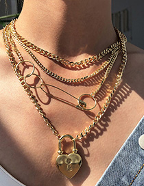 Fashion Gold Color Alloy Multilayer Love Pin Necklace