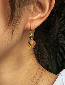 Fashion Orange Alloy Resin Contrast Color Faceted Crystal Earrings