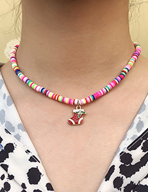 Fashion Color Moon Christmas Series Leather Cushion Beaded Oil Dripping Geometric Necklace