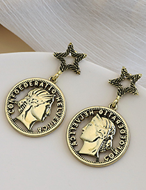 Fashion Gold Coloren Alloy Five-pointed Star Portrait Earrings