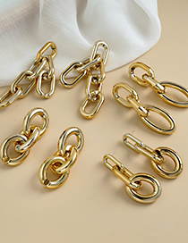 Fashion Gold Coloren Resin Double-layer Chain Earrings