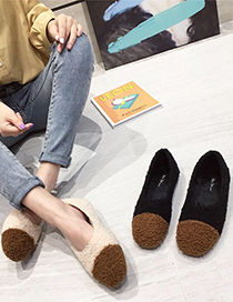 Fashion Black Flat Bottom And Velvet Stitching Contrast Color Square Toe Shoes