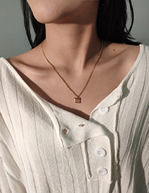 Fashion Gold Color A Thin Chain Letter Alloy Hollow Necklace