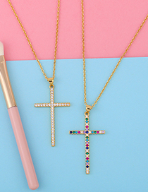 Fashion Color Zirconium Gold-plated Necklace With Cross Pendant And Zircon