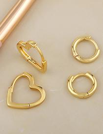 Pendientes Love Geométricos Redondos Bañados En Oro