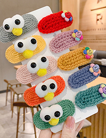 Fashion Big Eyes Cute [pink] Knitted Woolen Flowers Big Eyes And Cute Contrast Color Children S Hairpin