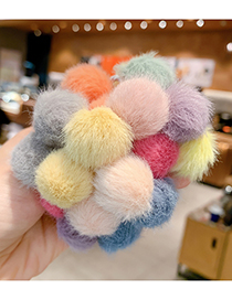 Fashion Yellow And Green Double Ball Hair Rope [1 Pair] Children S Hair Rope With Plush Ball Hitting Color