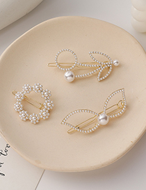 Fashion Leaf Style Pearl Bow Flower Ring Hairpin