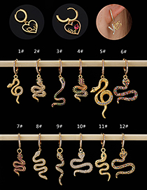 Fashion 1#gold Color Copper Inlaid Zircon Snake Earrings (1pcs)