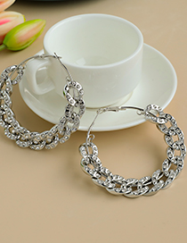 Golden Alloy Resin Diamond Chain Circle Earrings