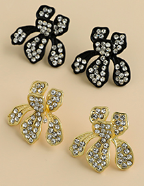 Fashion Gold Color Alloy Diamond Flower Earrings