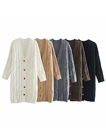Fashion Brown Long Twist Long-sleeved Knitted Padded Cardigan Jacket
