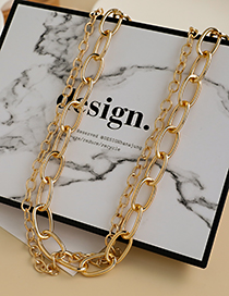 Fashion Gold Color Alloy Double Chain Necklace