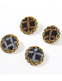 Fashion Brown Lace Round Alloy Leopard Print Flannel Flocking Earrings