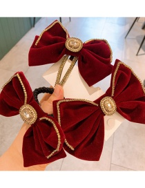 Fashion Wine Red (rubber Band) Velvet Large Bow Hairpin Hair Rope With Diamonds