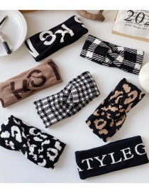 Fashion Letter Black Knitted Woolen Letter Crossed Broad-sided Houndstooth Leopard Headband