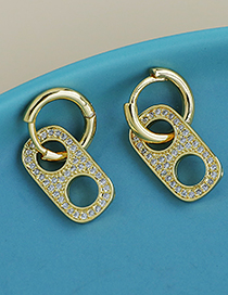 Fashion Golden Copper Inlaid Zircon Round Earrings