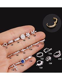 Fashion 1#silver Micro-inlaid Zircon Flowers Stainless Steel Geometric Earrings